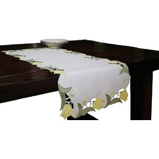 Spring Tulip Embroidered Cutwork Table Runner
