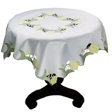 Spring Tulip Embroidered Cutwork Table Topper