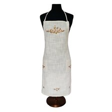 Linen Flowers Crewel Embroidered with Hemstitch Adjustable Apron