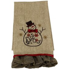 Snowman Embroidered Tea Towel