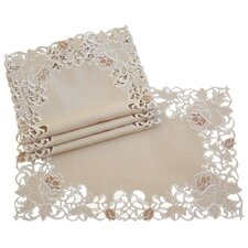 Scrolling Rose Embroidered Cutwork Tray Cloth (Set of 4)