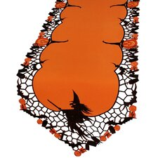 Witch Embroidered Cutwork Halloween Table Runner