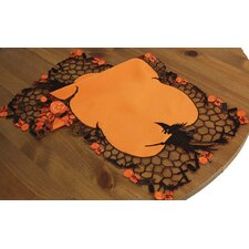 Witch Embroidered Cutwork Halloween Table Topper