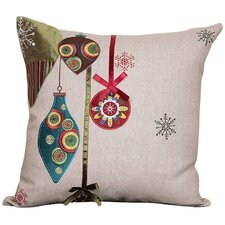 Noel Ornaments Embroidered Holiday Linen Throw Pillow