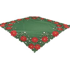 Holly Leaf Poinsettia Embroidered Cutwork Holiday Table Cloth