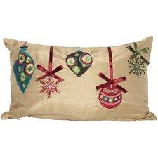 Noel Christmas Ribbon with Ornaments Lumbar Pillow