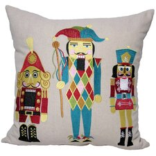 Classic Christmas Nutcracker Embroidered Holiday Linen Throw Pillow