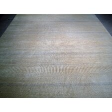 Modern Contemporary Transitional Hand-Knotted Silk and Wool Beige Area Rug