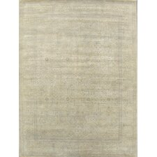 Modern Contemporary Transitional Hand-Knotted Silk and Wool Light Gold Area Rug