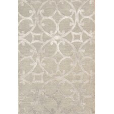 Hand-Knotted Silk and New Zealand Merino Wool Gray Area Rug