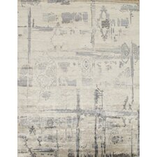Hand-Knotted Bamboo Silk Ivory Area Rug