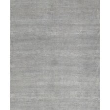 Hand-Knotted Wool and Bamboo Silk Light Grey Area Rug