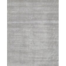 Hand-Knotted Wool and Bamboo Silk Silver Area Rug