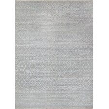 Hand-Knotted Wool and Bamboo Silk Area Rug