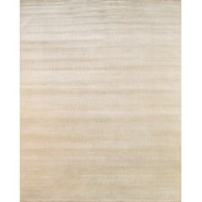 Hand-Knotted Wool and Bamboo Silk Beige Area Rug