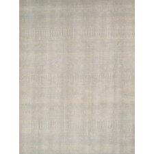 Transitional Hand-Knotted Ivory Area Rug