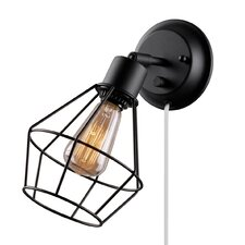 Adison 1 Light Plug In Industrial Cage Wall Sconce with Hardwire Conversion Kit