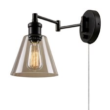 Adison 1 Light Plug In Industrial Wall Sconce with Hardwire Conversion Kit