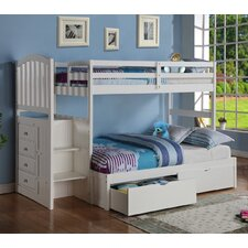 Arch Mission Stairway Bunk Bed with Storage Drawers