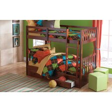 Mission Twin over Twin Bunk Bed with 3 Drawer Storage