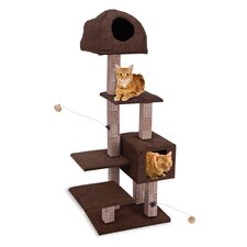 """59"""" Dual Hide-Away and Lounge Tower Cat Tree"""