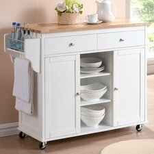 Baxton Studio Meryland Modern Kitchen Cart with Wooden Top