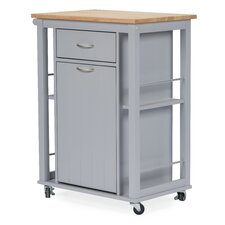 Baxton Studio Yonkers Kitchen Cart with WoodenTop