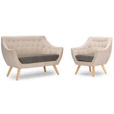 Baxton Studio Astrid Mid-Century Fabric Living Room Set