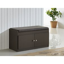 Baxton Studio Baxton 2-Door Shoe Cabinet with Faux Leather Seating Bench