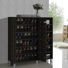 Baxton Studio Shirley Wood 2-Door Shoe Cabinet with Open Shelves