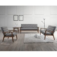 Sorrento Baxton Studio Upholstered 3 Piece Living Room Set
