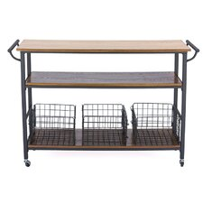Baxton Studio Kitchen Cart with Wooden Top