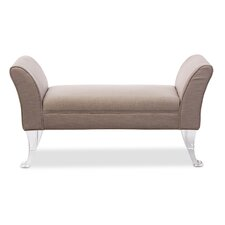 Baxton Studio Irwin Modern and Contemporary Beige Linen Upholstered Luxe Flared Arms Ottoman Bench with Flared Acrylic Legs
