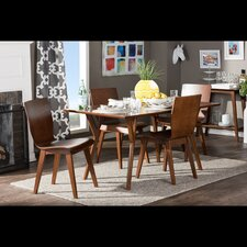 Baxton Studio Elsa Dark Walnut Bent Wood 5-Piece Dining Set
