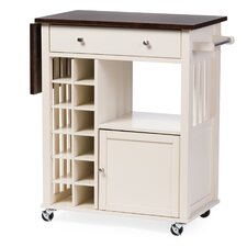 Baxton Studio Justin Solid Wood Kitchen Cart with Dark Oak Drop Leaf Top and Built-in Wine Rack