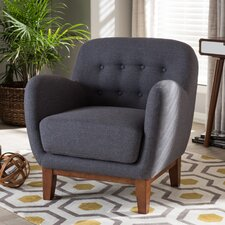 Baxton Studio Susana Upholstered Button Tufted Arm Chair