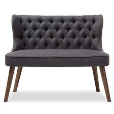 Baxton Studio Wood Upholstered Button-Tufting Loveseat