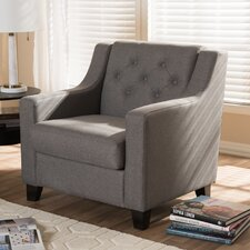 Baxton Studio Silvia Modern and Contemporary Fabric Upholstered Button-Tufted Living Room Club Chair