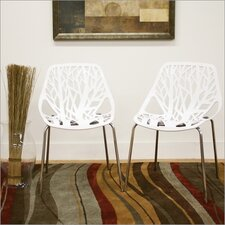 Baxton Studio Birch Sapling Dining Chair in White (Set of 2)