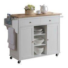Baxton Studio Meryland Modern Kitchen Islandwith Wood Top