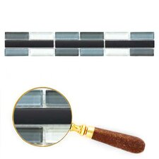 "Cristezza 11.81"" x 1.92"" Glass Mosaic Tile in Black Pepper (Set of 5)"