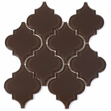 "Water Jet 3.9"" x 4.7"" Glass Mosaic Tile in Classic Brown"