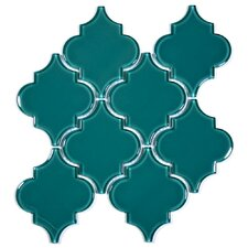 "Water Jet 3.9"" x 4.7"" Glass Mosaic Tile in Dark Teal"
