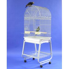 Dome Top Bird Cage with Plastic Base and Stand