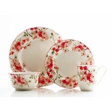 Cherry Blossom Red 16 Piece Dinnerware Set
