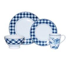 Floral Plaid Blue 16 Piece Dinnerware Set
