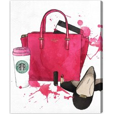 Bags, Shoes, and Coffee Graphic Art on Wrapped Canvas