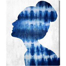 Flower Built Indigo Graphic Art on Wrapped Canvas