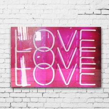 "LAB Creative ""Love Neon Lights"" High Gloss Textual Art on Canvas"