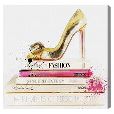Gold Shoe & Fashion Books by Oliver Gal Graphic Art on Wrapped Canvas